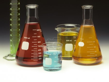 Scientific glassware filled with liquids