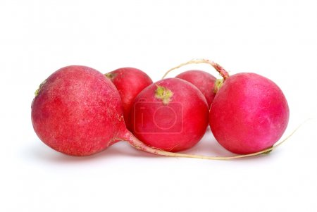 Few red ripe garden radish isolated on the white b...