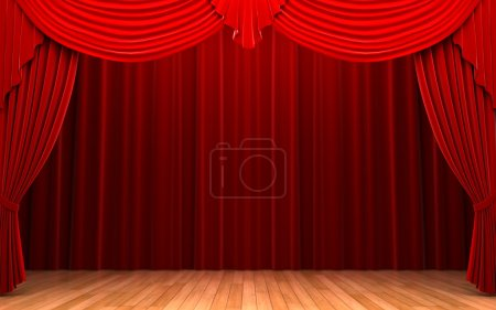 Photo for Red velvet curtain opening scene made in 3d - Royalty Free Image