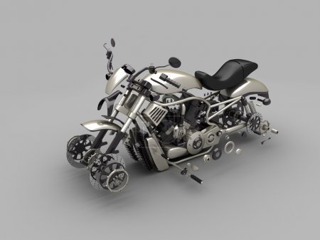 The disassembled titanic motorcycle