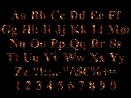 Alphabet stylized to charred embers