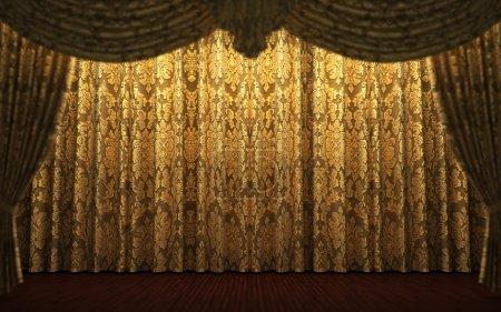 Yellow velvet curtain opening scene