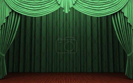 Green velvet curtain opening scene