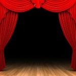 Red velvet curtain opening scene made in 3d...