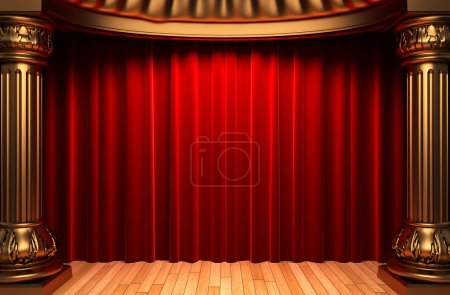 Photo for Red velvet curtains behind the gold columns made in 3d - Royalty Free Image