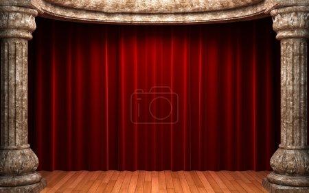 Photo pour Rideaux en velours rouge derrière les colonnes de pierre fabriquées en 3D - image libre de droit