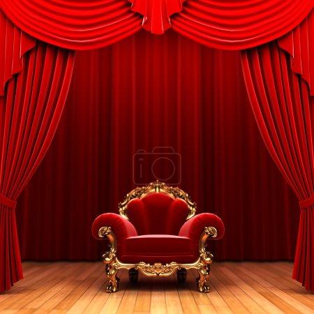 Photo pour Rideau et chaise en velours rouge fabriqués en 3D - image libre de droit