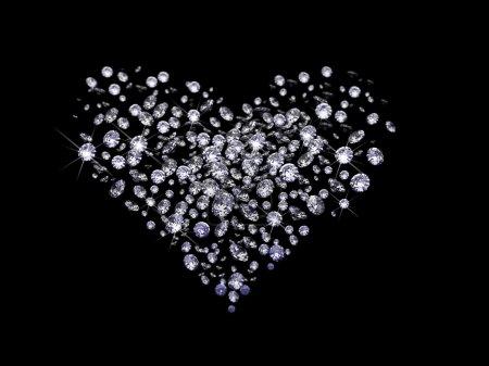 Photo pour Beaucoup de diamants, diffusion à travers le noir fait en 3d - image libre de droit