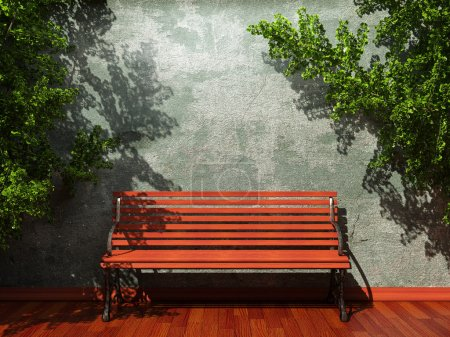 Old concrete wall and bench