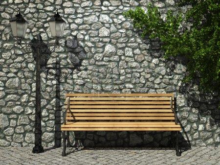 Illuminated stone wall and bench