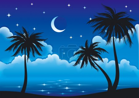 Illustration for Night coast with palm-trees. EPS8 vector. Clouds made with blends. - Royalty Free Image