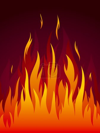 Illustration for Powerful fire on dark background. Fully editable vector. - Royalty Free Image