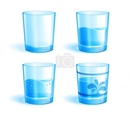 Illustration pour Illustration de verres : vides et à l'eau claire. Format supplémentaire : EPS v.10 - image libre de droit