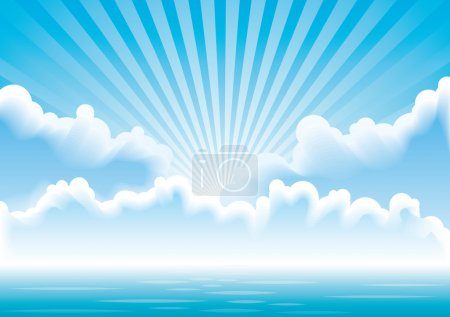 Vector seascape with clouds and sun rays