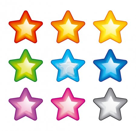Illustration for Vector star icons of rainbow colors - Royalty Free Image