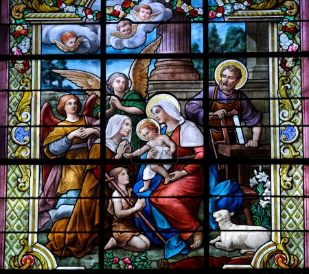 Stained glass window with Christmas scene