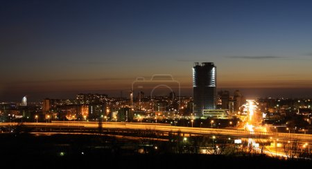 Photo for Night fires of a modern city landscape - Royalty Free Image