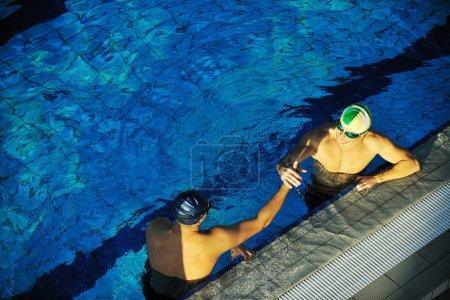 Swimming race winner