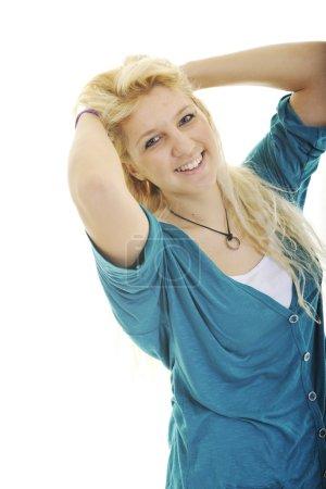 Happy teenage girl isolated on white