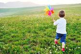 Happy child has fun outdoor