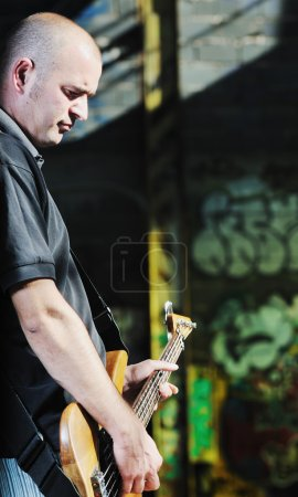 Music guitar player outdoor