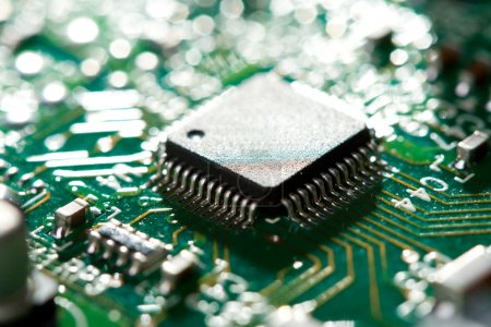 Photo for Close-up chip on green circuit board, selective focus - Royalty Free Image