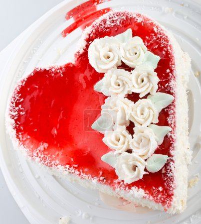 Heart-shaped cake view from above