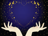 This is the night sky The hands holding the heart This romantic