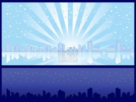 Illustration pour Ensemble de deux milieux. Paysage urbain. Jour et nuit d'hiver . - image libre de droit