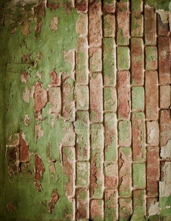 Photo pour Vieux mur de briques avec peinture verte - image libre de droit