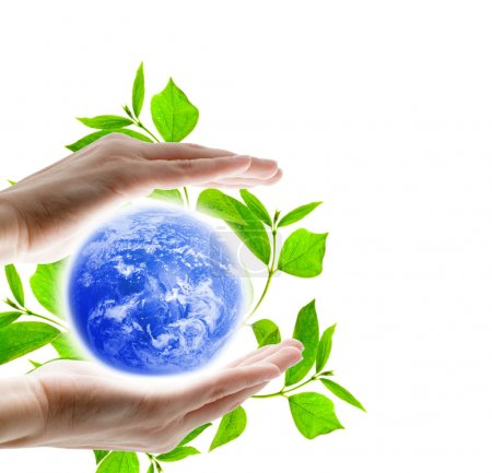 Photo for Earth globe with human hands - Royalty Free Image