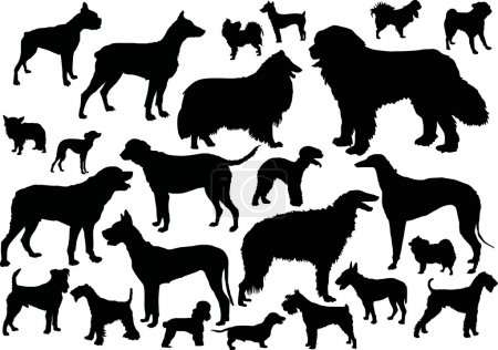 Twenty four dog silhouettes
