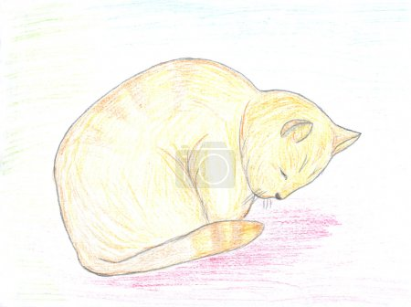 Photo pour Esquisse de chat rousse endormie, dessin pour enfants - image libre de droit