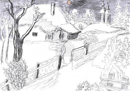 Photo pour Beau paysage de village d'hiver, dessin au crayon - image libre de droit