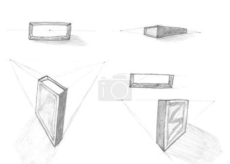 Photo pour Cube carré objet pensil dessin, perspective géométrique, croquis - image libre de droit