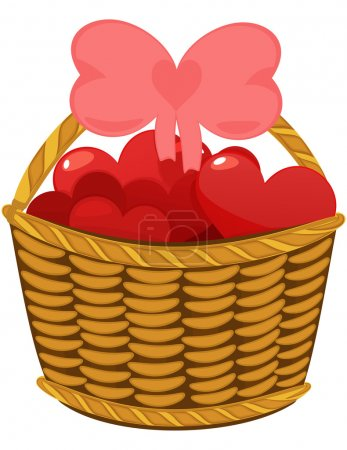 Colorful love hearts in wicker basket