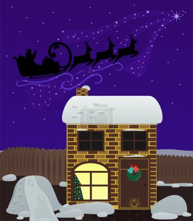 Christmas night. Santa Claus fly