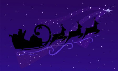 Silhouette of Flying Santa Claus