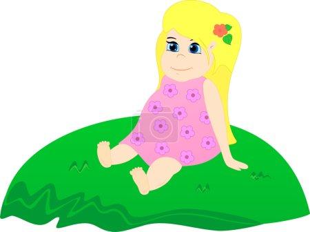 Petite fille sur l'herbe