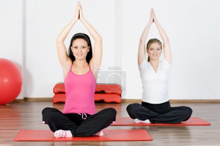 Women doing yoga exercise