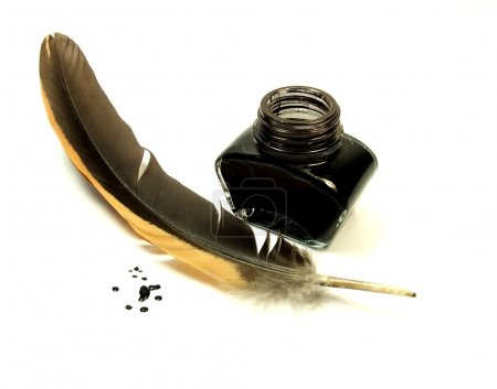 Photo for Black inkwell with quill - Royalty Free Image
