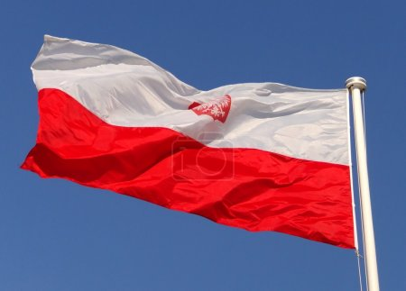 Photo for Poland red white flag on wind - Royalty Free Image