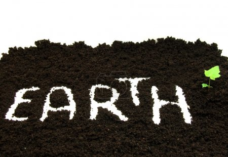 Photo for Text in soil, conceptual - Royalty Free Image