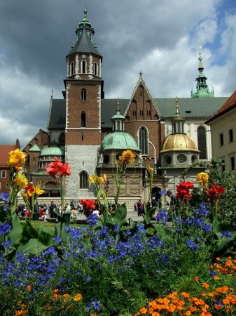 Photo for Krakow , Cathedral on Wawel with flowers - Royalty Free Image