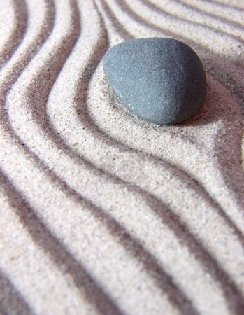 Photo for Zen garden with stone and sand - Royalty Free Image
