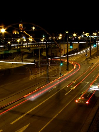 Photo for City and cars lights at night, Gdynia, Poland - Royalty Free Image