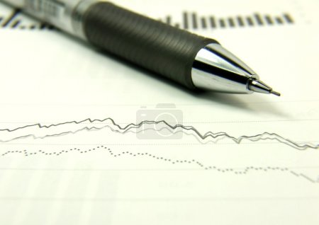 Photo for Pencil on the finances statements and charts - Royalty Free Image