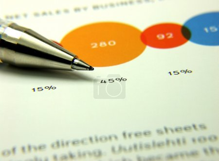 Photo for Finances statement with chart and pen - Royalty Free Image