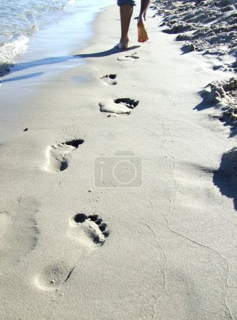 Photo for Footprint on sand - Royalty Free Image