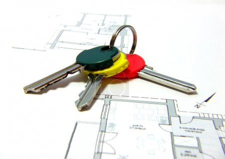 Photo for Keys on the plan of a new house - Royalty Free Image